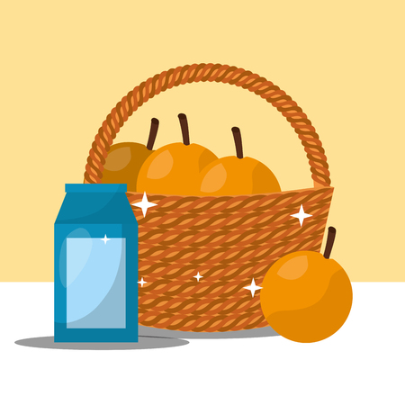 fruit fresh natural water bask of oranges vector illustration Ilustração
