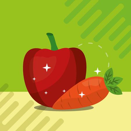 vegetables fruit fresh natural apple and carrot vector illustration Illustration