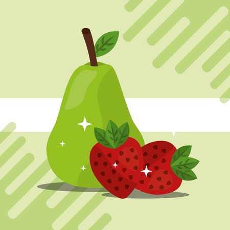 fruit fresh natural strawberrys and pear vector illustration Ilustração