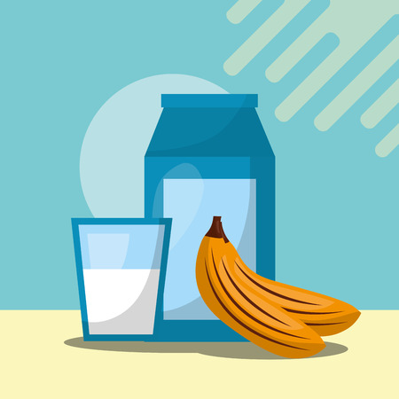 fruit fresh natural milk bottle water bananas vector illustration