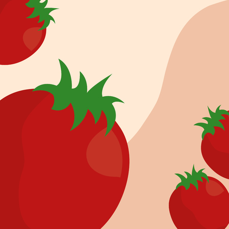 vegetables fresh natural tomatoes background vector illustration