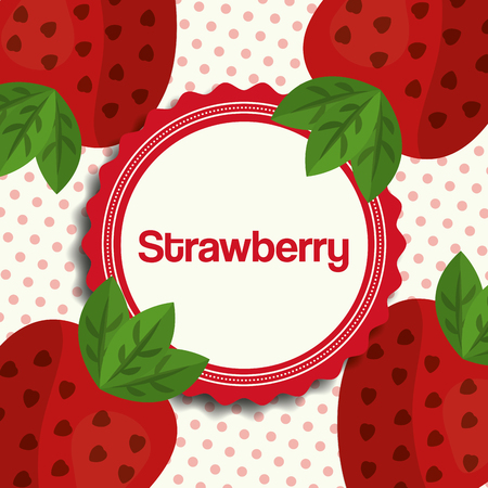 fruit fresh natural strawberrys sticker plants dotted background vector illustration