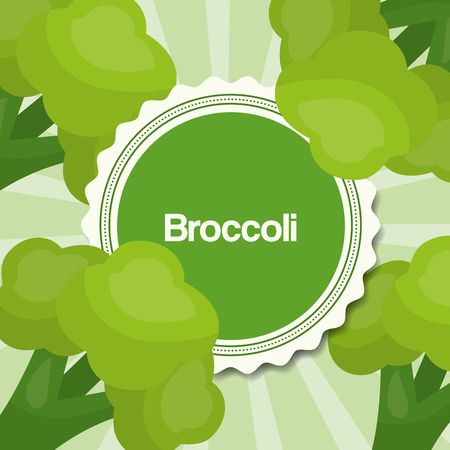 vegetables fresh natural broccolis background vector illustration