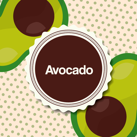 fruit fresh natural sticker sign avocados dotted background vector illustration
