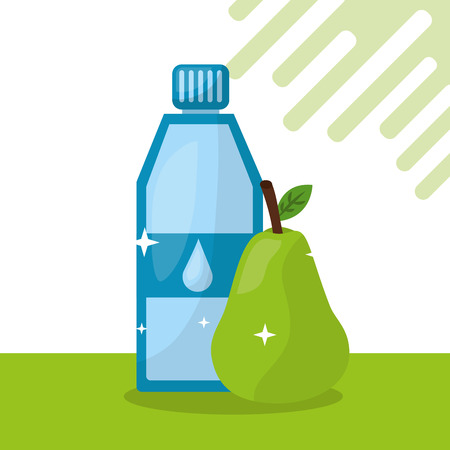 fruit fresh natural bottle water pear vector illustration
