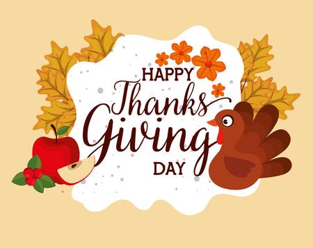 Feliz tarjeta de agradecimiento con Turquía, diseño de ilustraciones vectoriales