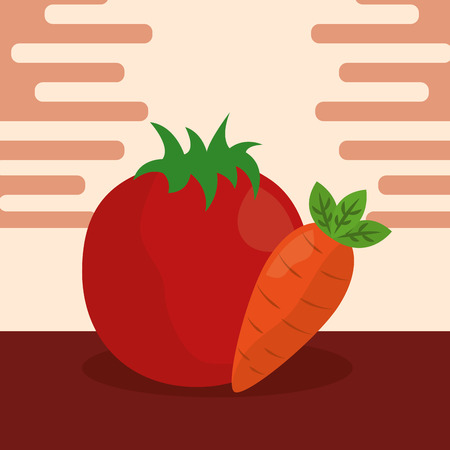 vegetables fresh natural tomatoe carrot vector illustration