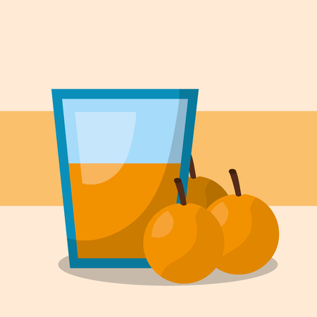 fruit fresh natural vase juice oranges vector illustration
