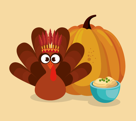 happy thanks giving card with turkey vector illustration design