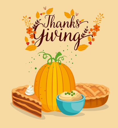 happy thanks giving card with pumpkin vector illustration design Archivio Fotografico - 109992539