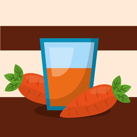 vegetables fresh natural carrots juice vase vector illustration Illustration