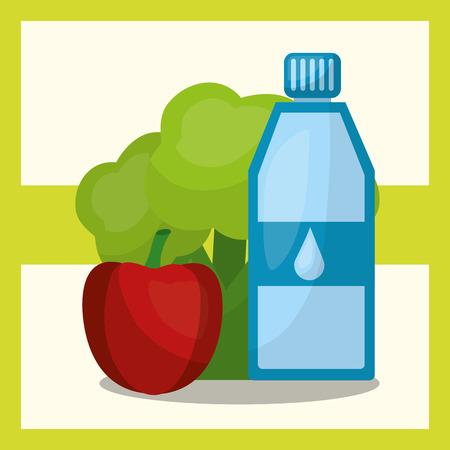 vegetable fruit fresh natural water bottle apple and broccoli vector illustration Иллюстрация