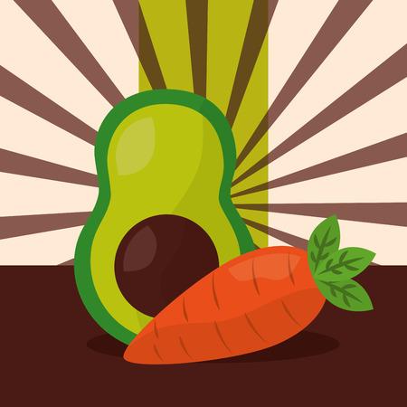 vegetables fresh natural avocado carrot stripes background vector illustration