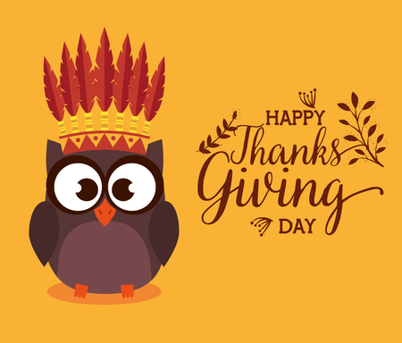 happy thanks giving card with owl vector illustration design