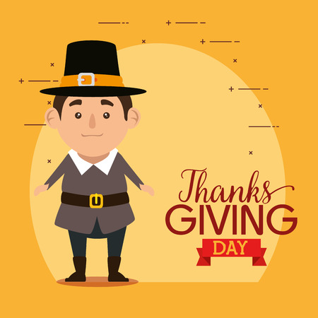 happy thanks giving card with pilgrim man vector illustration design