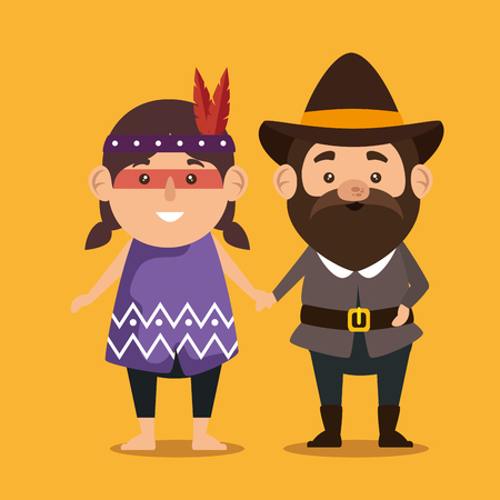 thanks giving card with pilgrim and native vector illustration design Illustration
