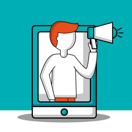 success business creative smartphone screen man with megaphone vector illustration Çizim