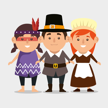 thanks giving card with pilgrim couple and native vector illustration
