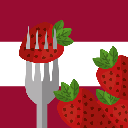 fruit fresh natural fork holding strawberrys vector illustration