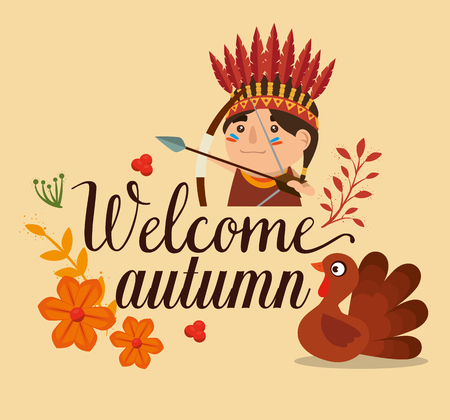 welcome autumn card with turkey and native vector illustration design