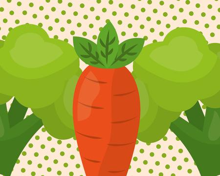 vegetables fresh natural carrot broccolis vector illustration Illustration