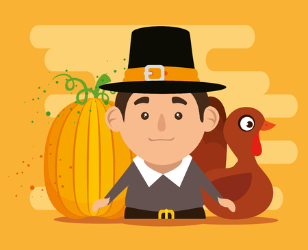 thanks giving card with turkey and pilgrim vector illustration design Illustration