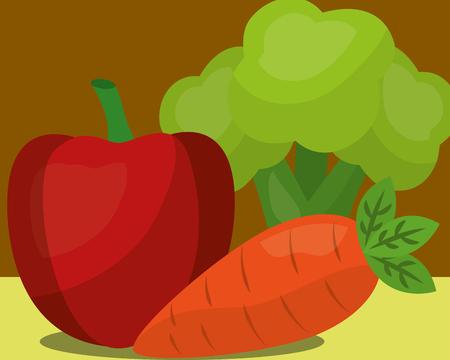 vegetables fresh natural apple carrot broccoli vector illustration