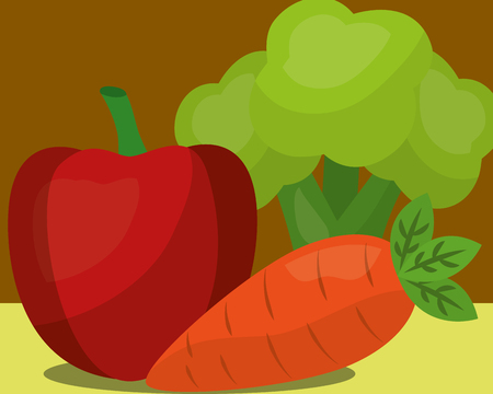 vegetables fresh natural apple carrot broccoli vector illustration