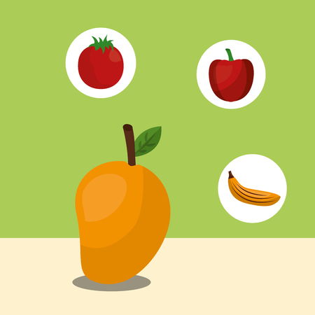 fruit fresh natural mango stickers apple banana vector illustration