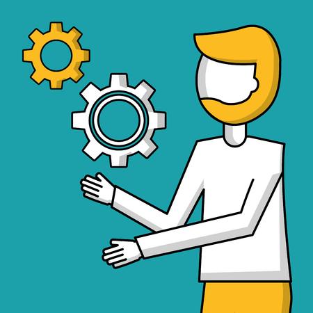 success business creative male showing wheel vector illustration Illustration