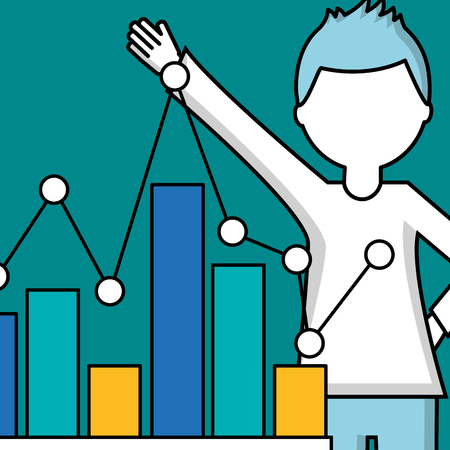 success business creative boy hand up statistics showing vector illustration