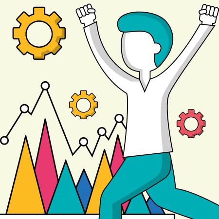 success business creative colors diagnostic statistics man hands up wheels vector illustration