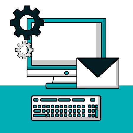 success business creative computer message wheels technology vector illustration Illustration