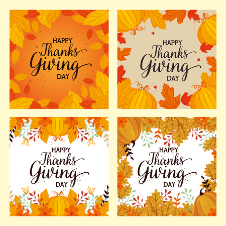 happy thanks giving cards with floral decoration vector illustration