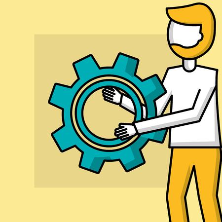 success business creative man holding wheel tool vector illustration Illustration