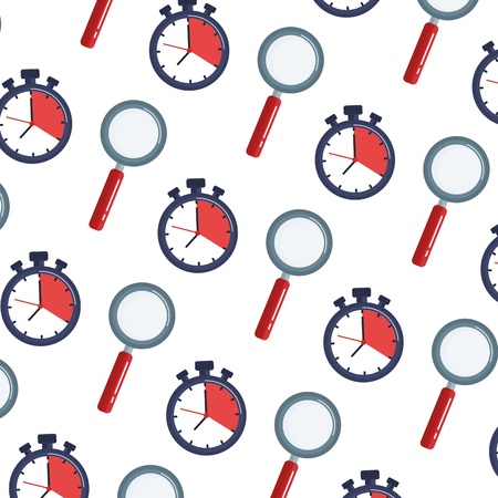 chronometer timer and magnifying glass pattern vector illustration design Ilustrace