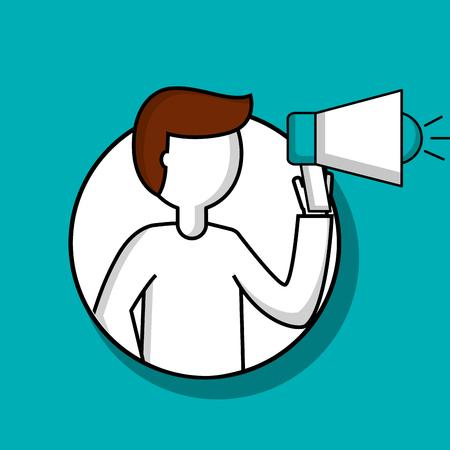success business creative sticker man using megaphone vector illustration