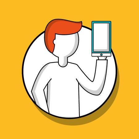 success business creative sticker man holding smartphone vector illustration Illustration