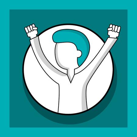 success business creative sticker man hands up vector illustration