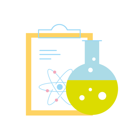 chemistry laboratory science clipboard atom test tube vector illustration