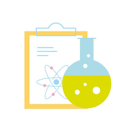 chemistry laboratory science clipboard atom test tube vector illustration
