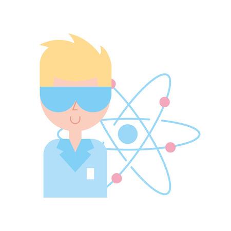 scientific professor character molecule atom vector illustration Illustration