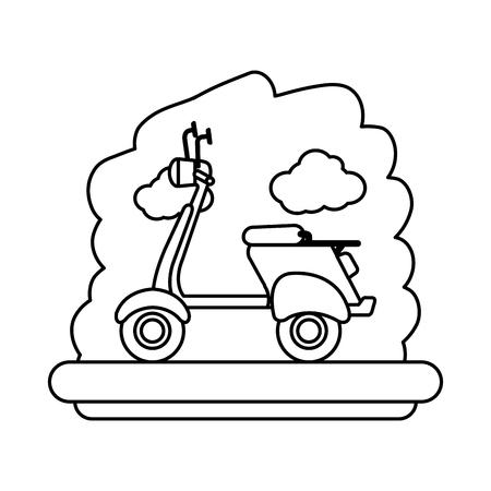 scooter bike with sky landscape vector illustration design Ilustração
