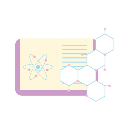 biology science study book atom molecule vector illustration