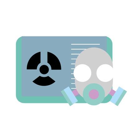 repirator mask chemistry book radiaton danger vector illustration