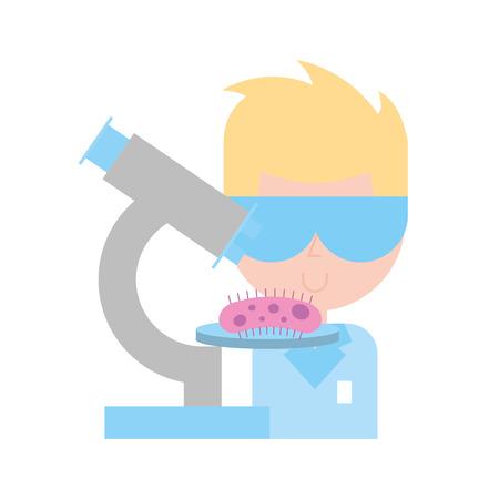 scientific man professor microscope bacteria research vector illustration Illustration