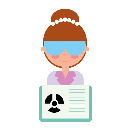 science scientist woman with glasses and radiation hazard book vector illustration  イラスト・ベクター素材