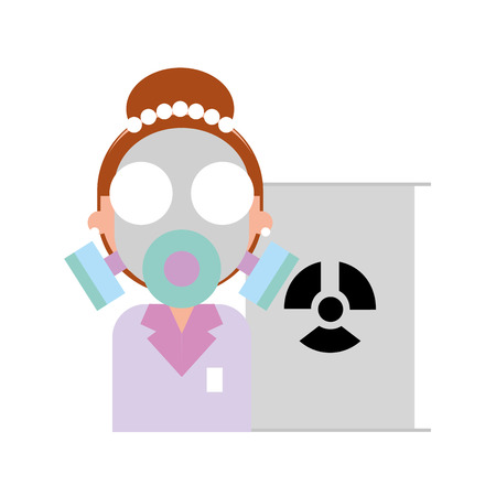 Mujer científica con máscara de protección radiación barril peligro ilustración vectorial