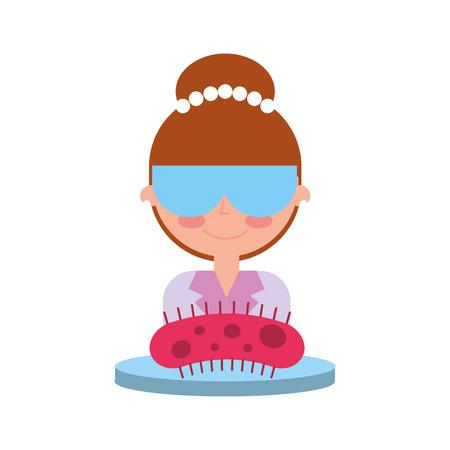 scientific woman with glasses bacteria on petri dish vector illustration Illustration
