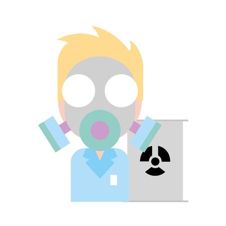médecin masque protection danger rayonnement baril illustration vectorielle